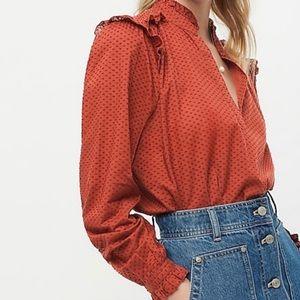 NWT J.CREW ruffle trim v-neck pullover blouse top rust orange brown size XXS new